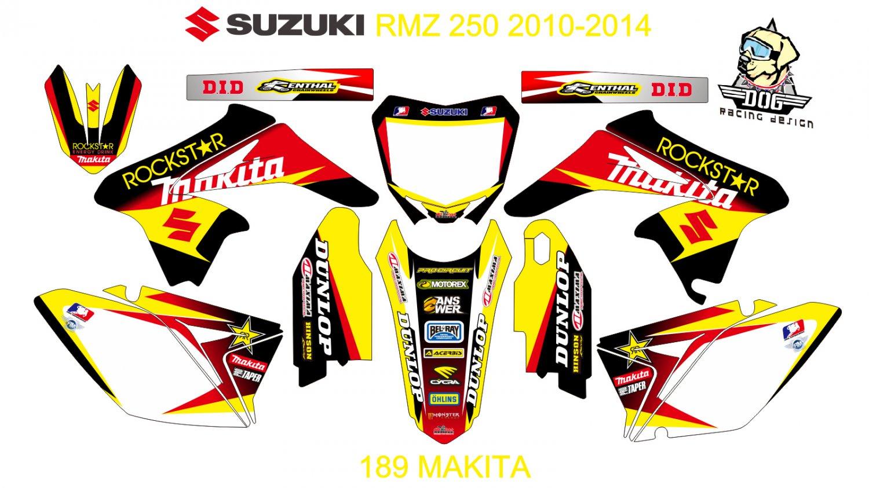 SUZUKI RMZ 250 2010-2014 GRAPHIC DECAL KIT CODE.189