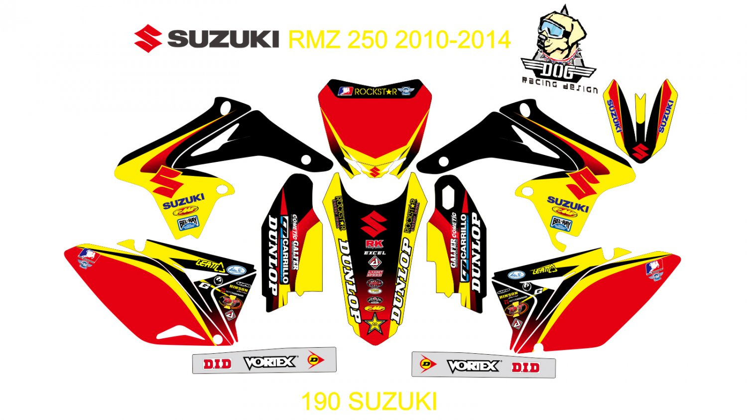 SUZUKI RMZ 250 2010-2014 GRAPHIC DECAL KIT CODE.190