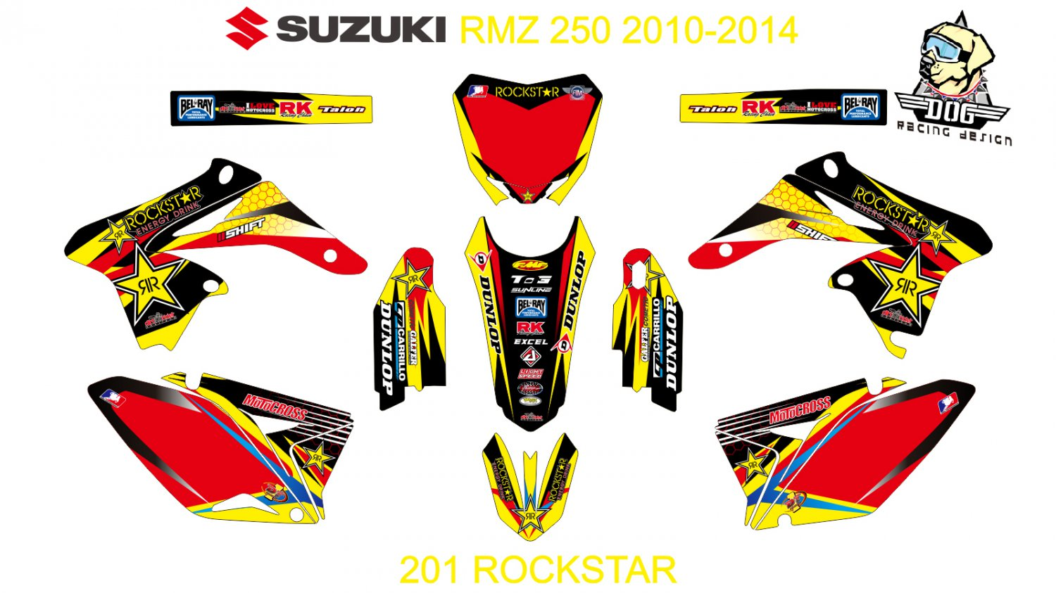 SUZUKI RMZ 250 2010-2014 GRAPHIC DECAL KIT CODE.201