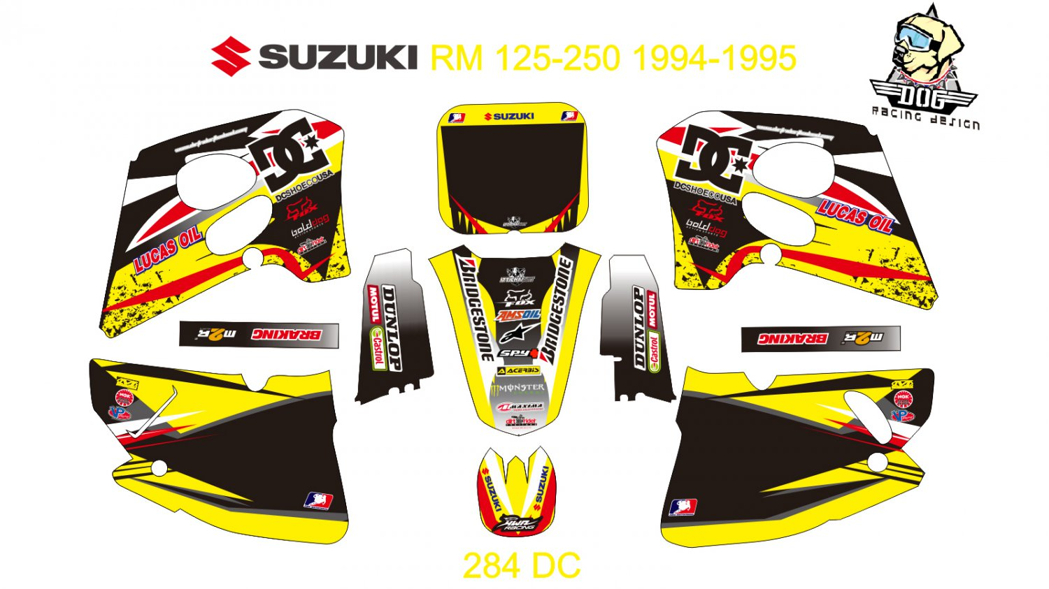 SUZUKI RM 125-250 1994-1995 GRAPHIC DECAL KIT CODE.284
