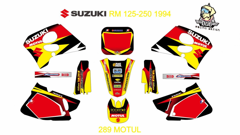 SUZUKI RM 125-250 1994-1995 GRAPHIC DECAL KIT CODE.289