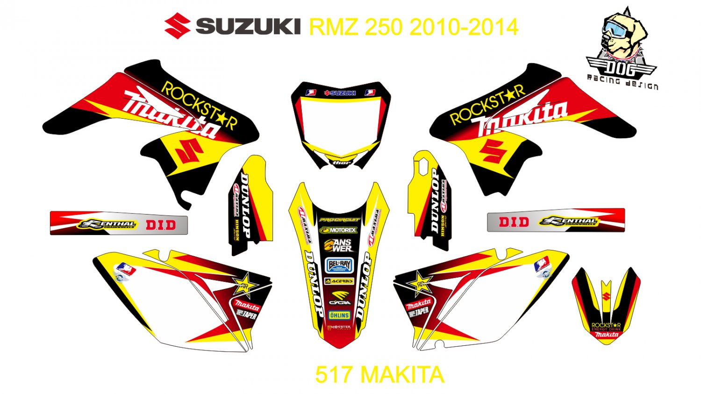SUZUKI RMZ 250 2010-2014 GRAPHIC DECAL KIT CODE.517