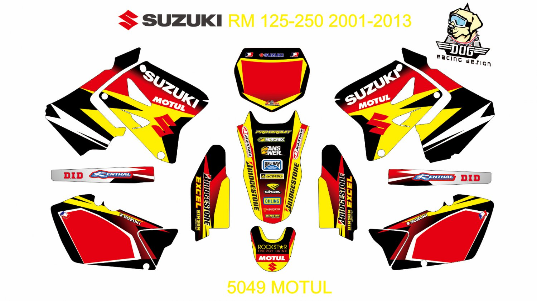 SUZUKI RM 125-250 2001-2013 GRAPHIC DECAL KIT CODE.5049