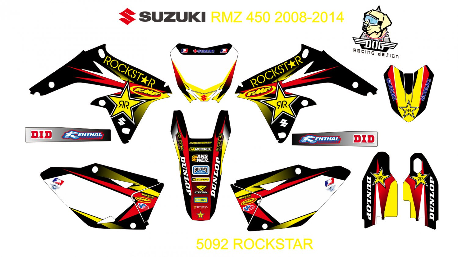 SUZUKI RMZ 450 2008-2014 GRAPHIC DECAL KIT CODE.5092