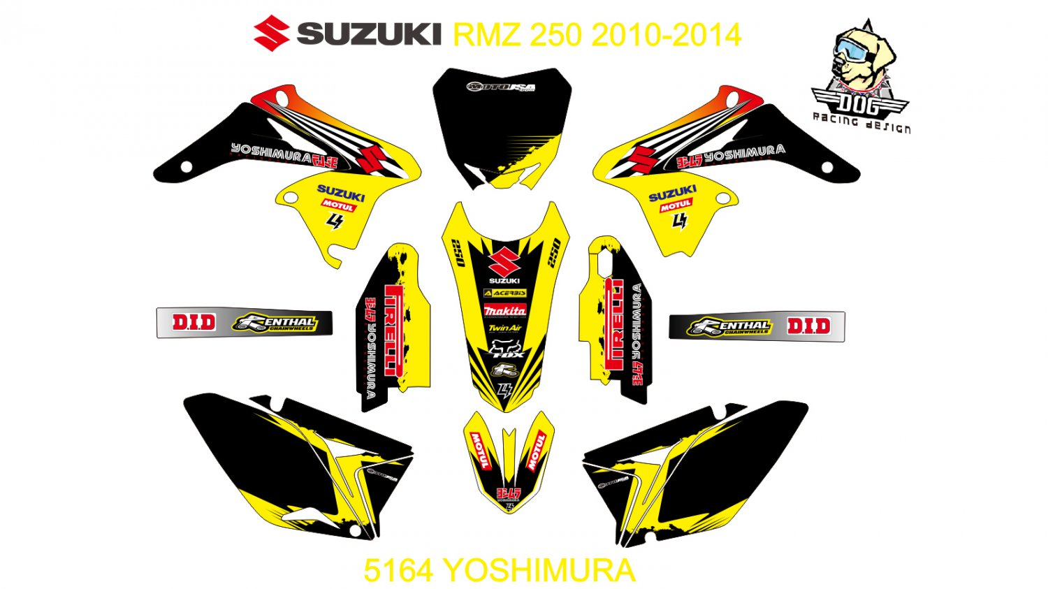 SUZUKI RMZ 250 2010-2014 GRAPHIC DECAL KIT CODE.5164