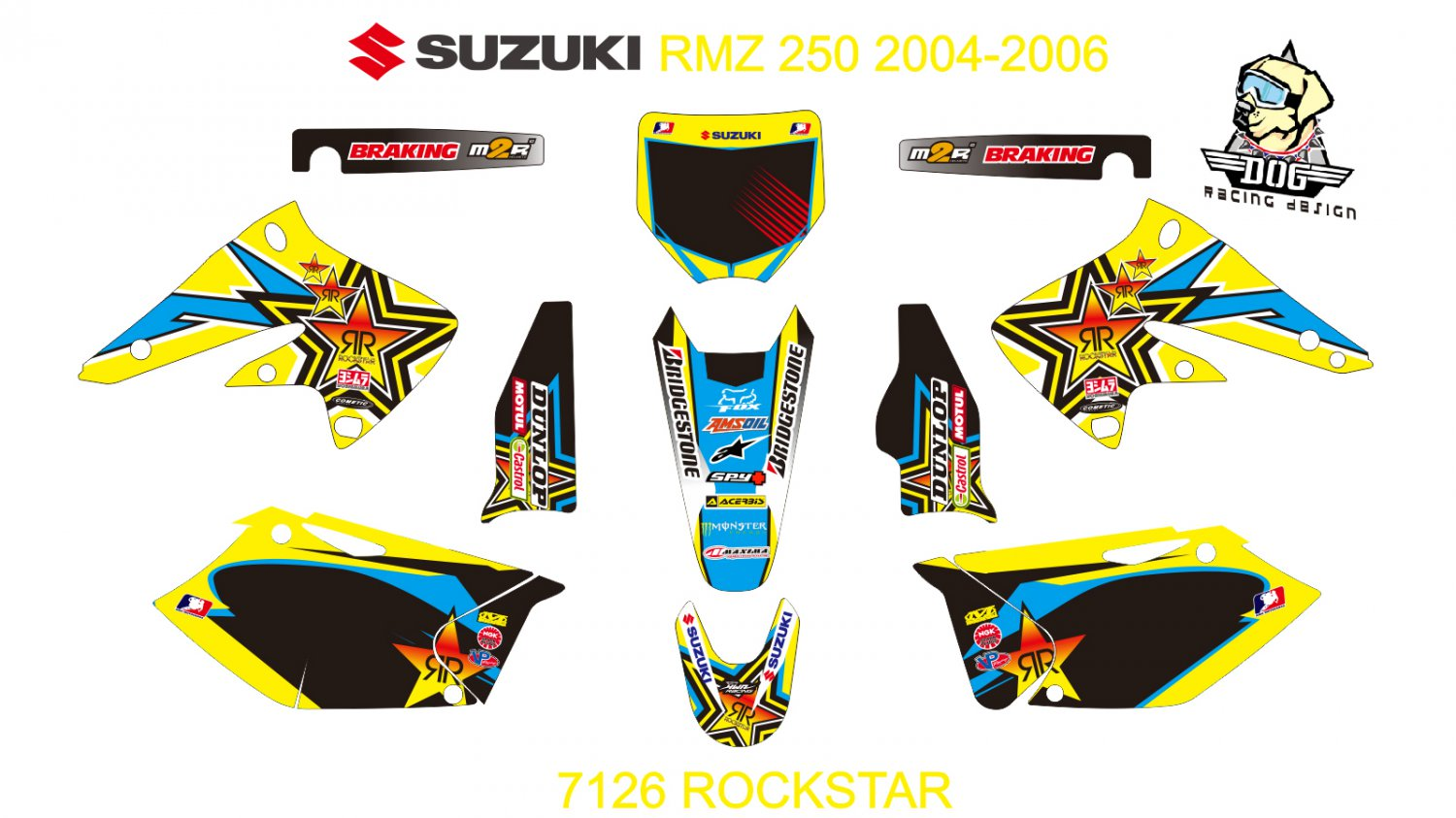 SUZUKI RMZ 250 2004-2006 GRAPHIC DECAL KIT CODE.7126