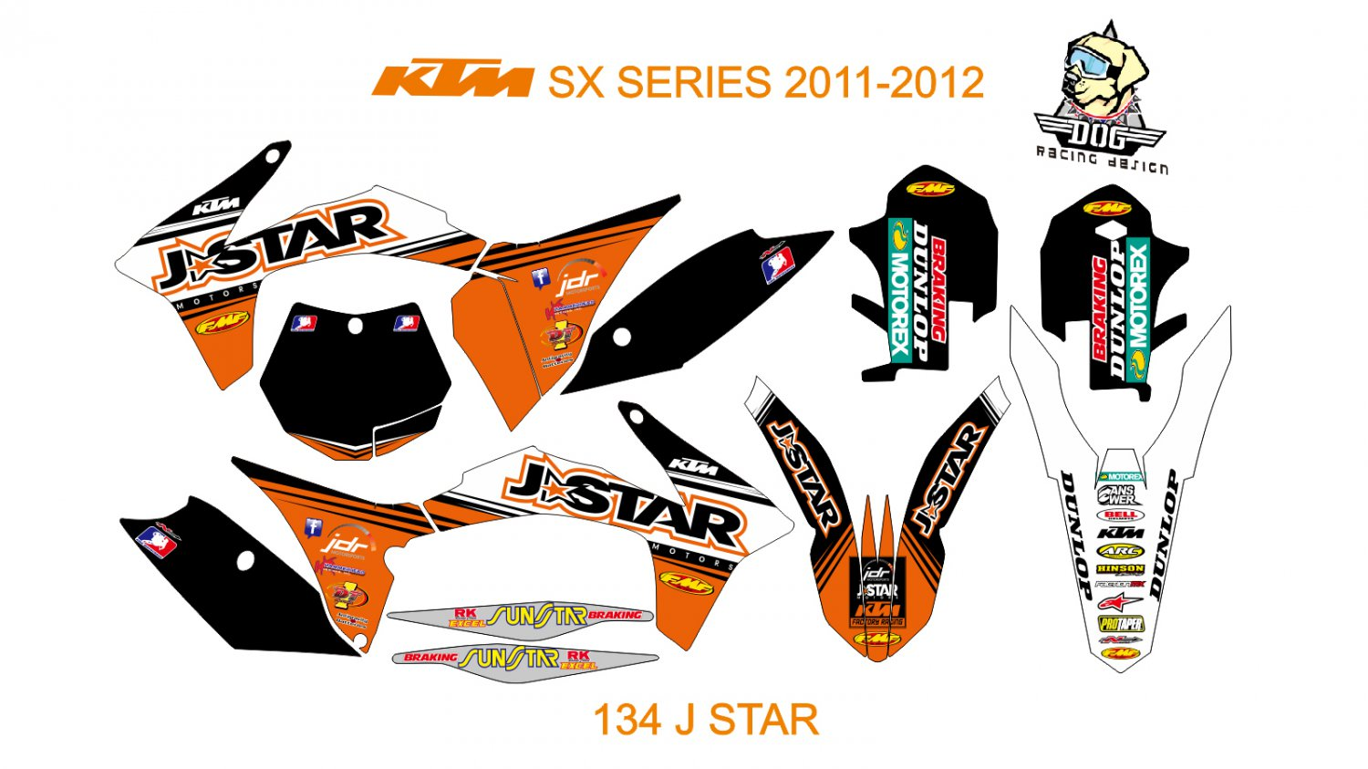 KTM SX SERIES 2011-2012 GRAPHIC DECAL KIT CODE.134