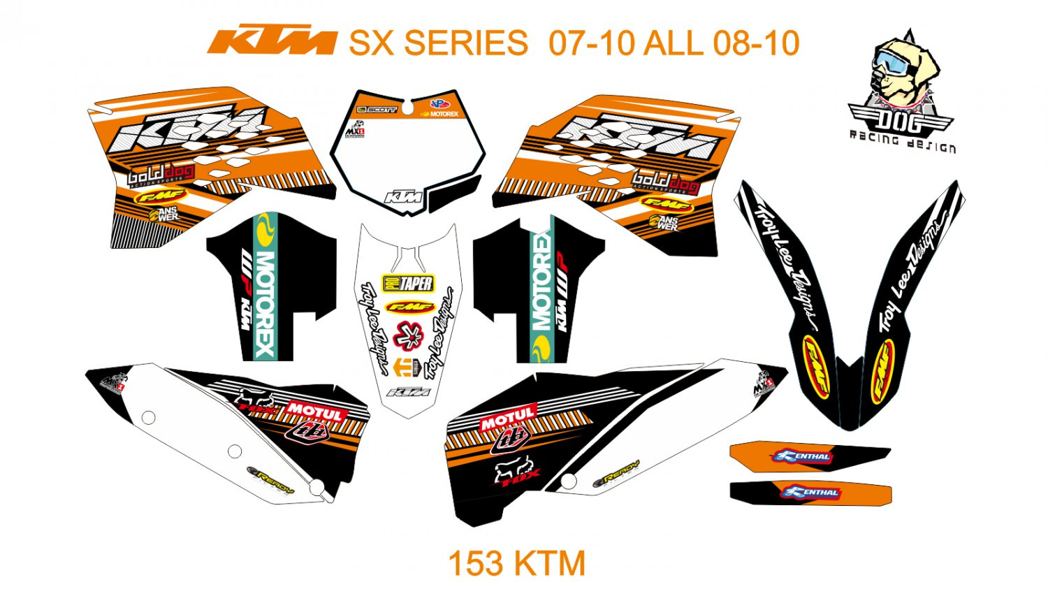 KTM SX SERIES 2007-2010 ALL 2008-2010 GRAPHIC DECAL KIT CODE.153