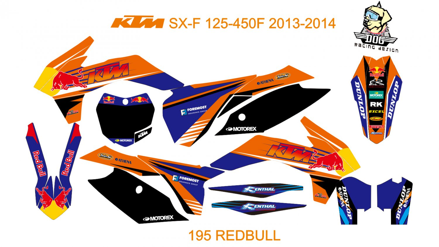 KTM SX-F 125-450F 2013-2014 GRAPHIC DECAL KIT CODE.195