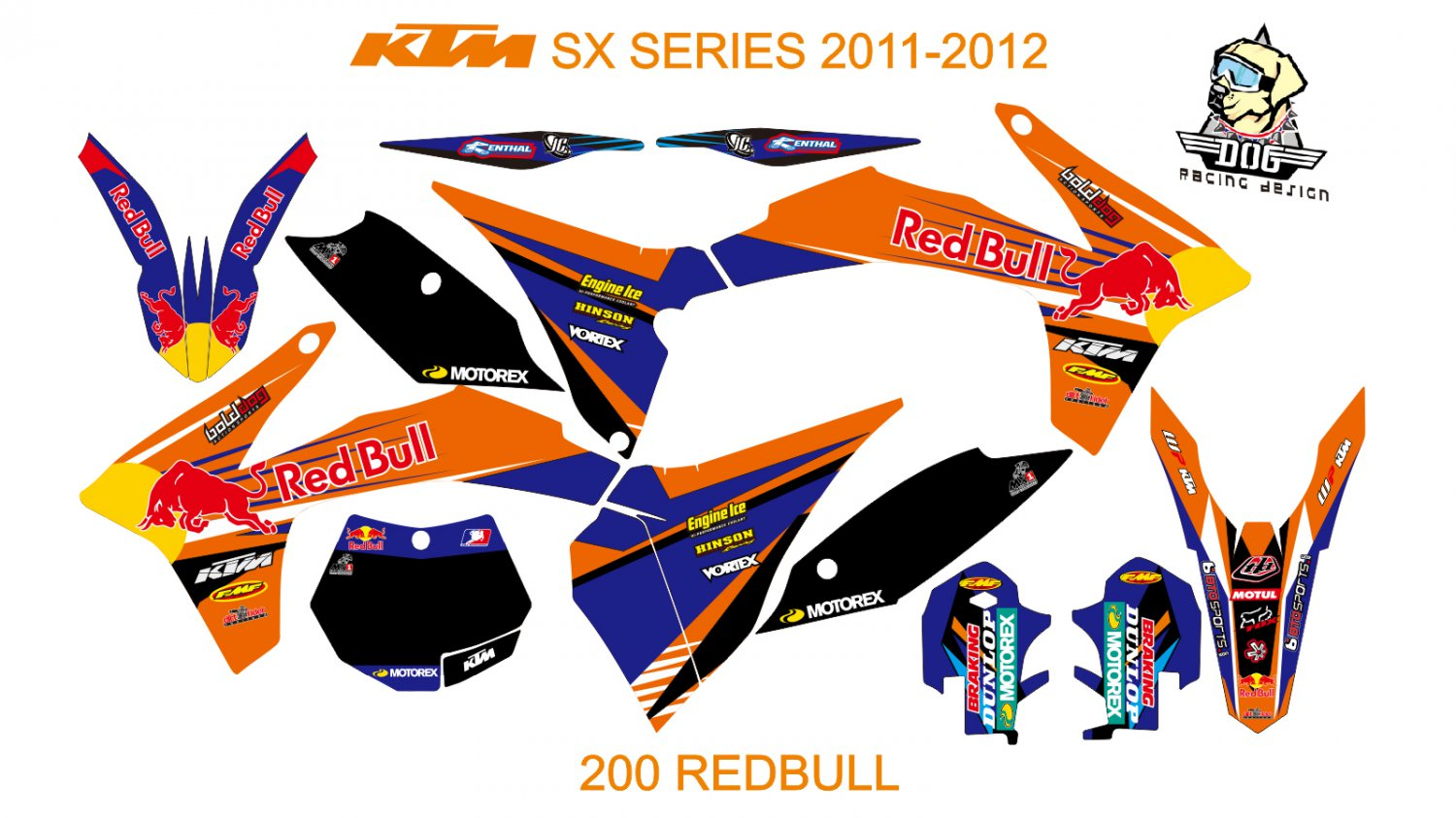 KTM SX SERIES 2011-2012 GRAPHIC DECAL KIT CODE.200