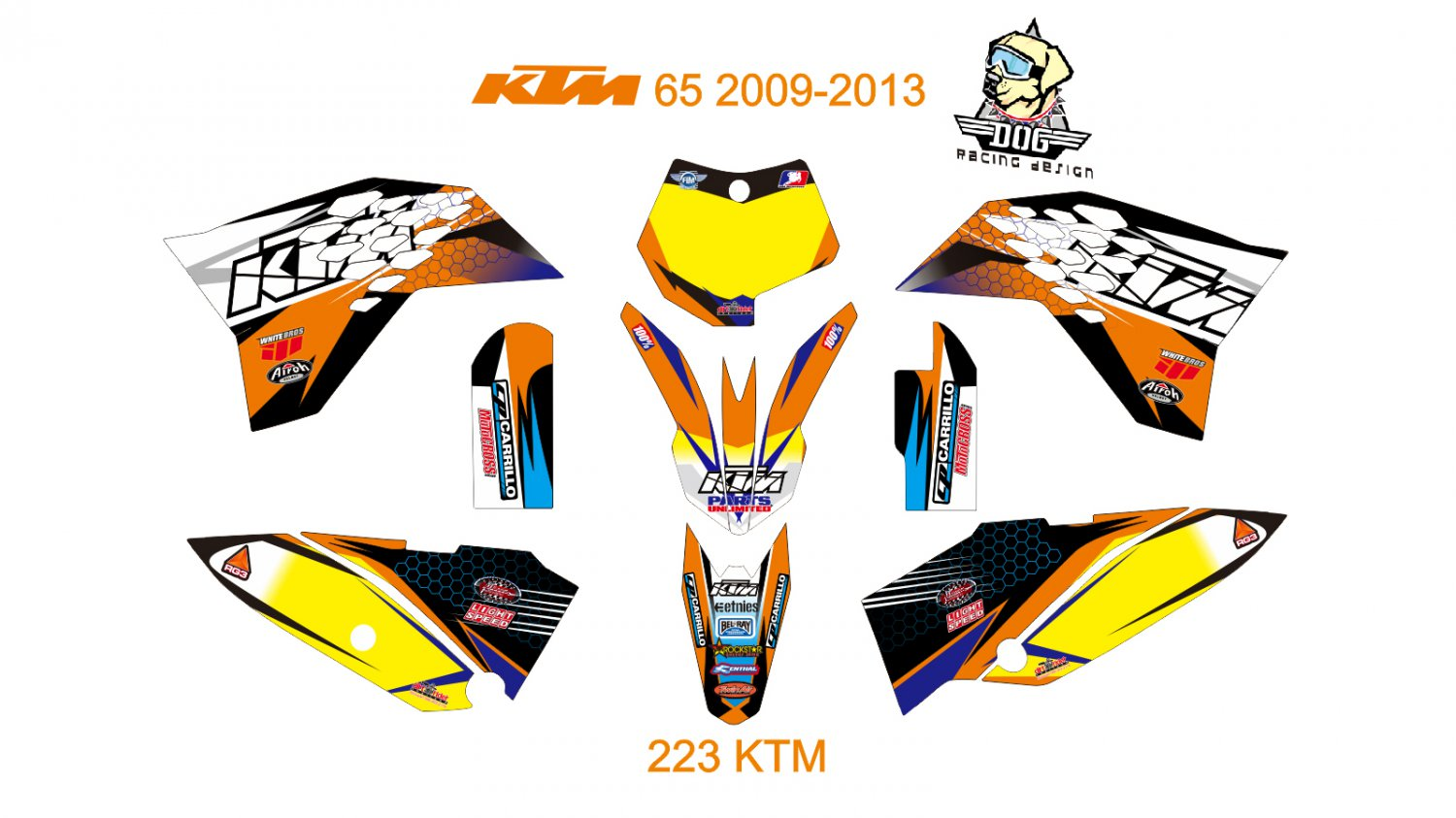 KTM 65 2009-2013 GRAPHIC DECAL KIT CODE.223