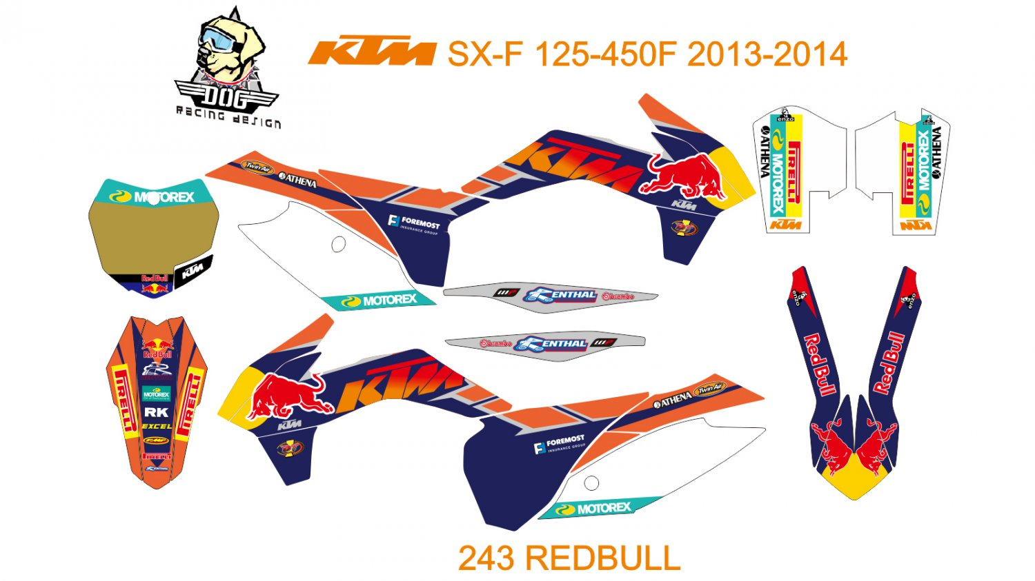 KTM SX-F 125-450F 2013-2014 GRAPHIC DECAL KIT CODE.243