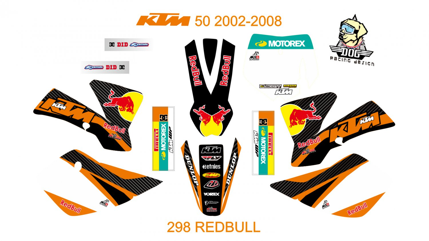 KTM 50 2002-2008 GRAPHIC DECAL KIT CODE.298