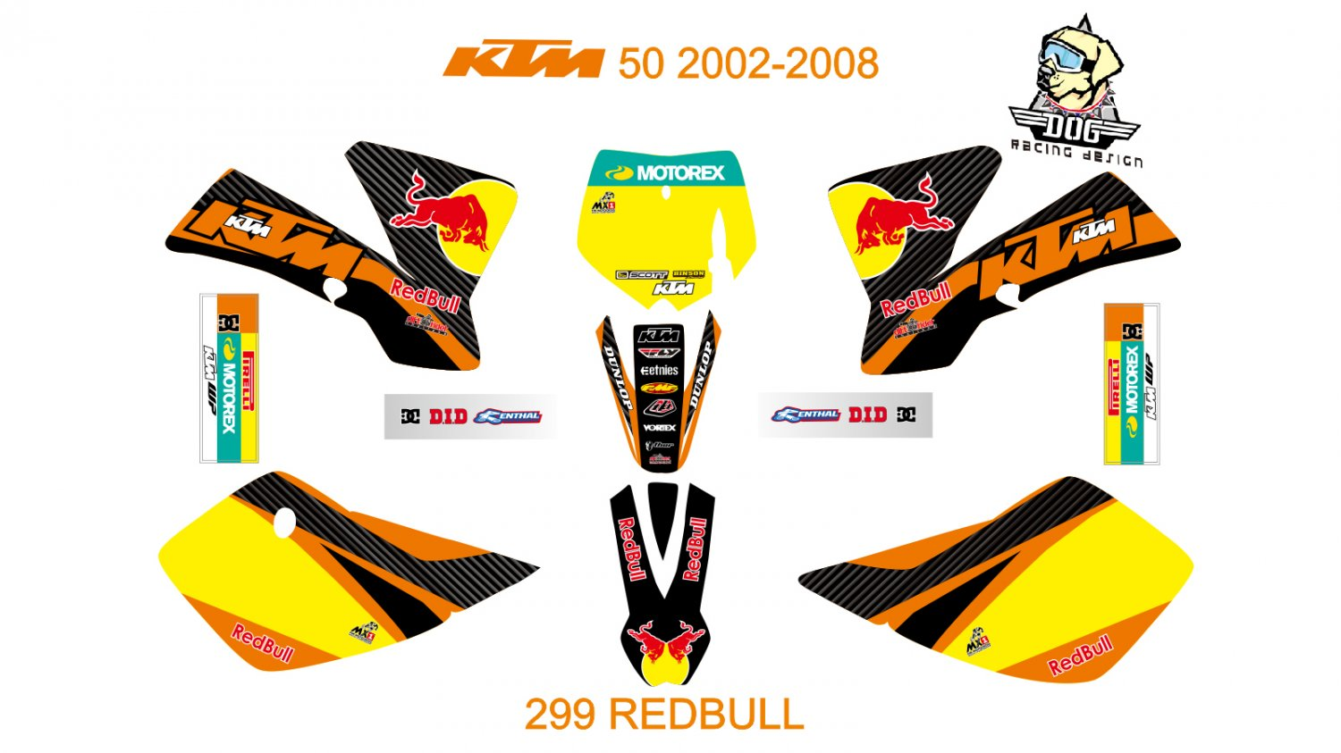 KTM 50 2002-2008 GRAPHIC DECAL KIT CODE.299