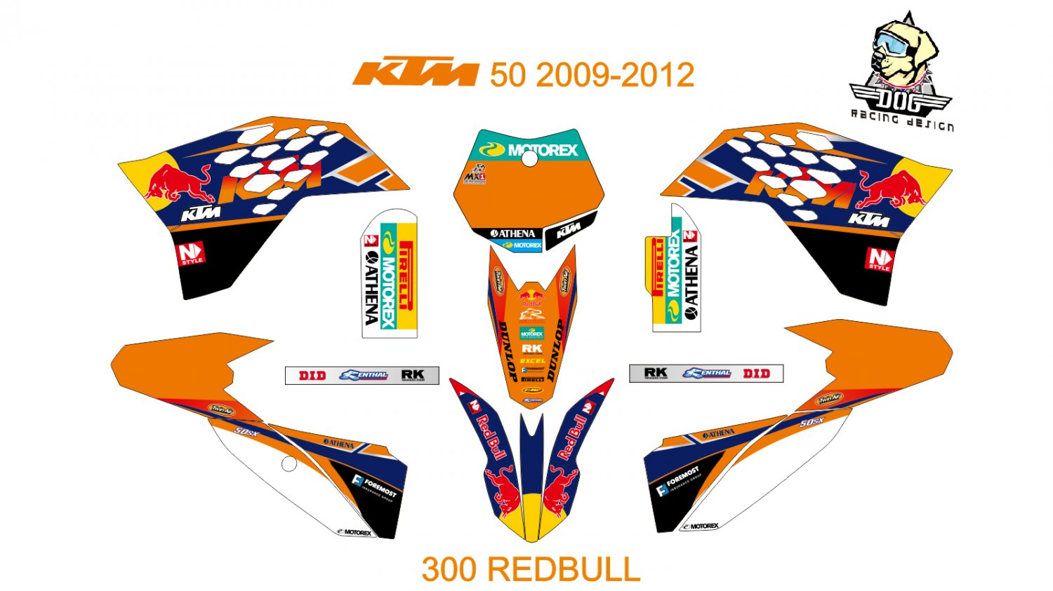 KTM 50 2009-2012 GRAPHIC DECAL KIT CODE.300