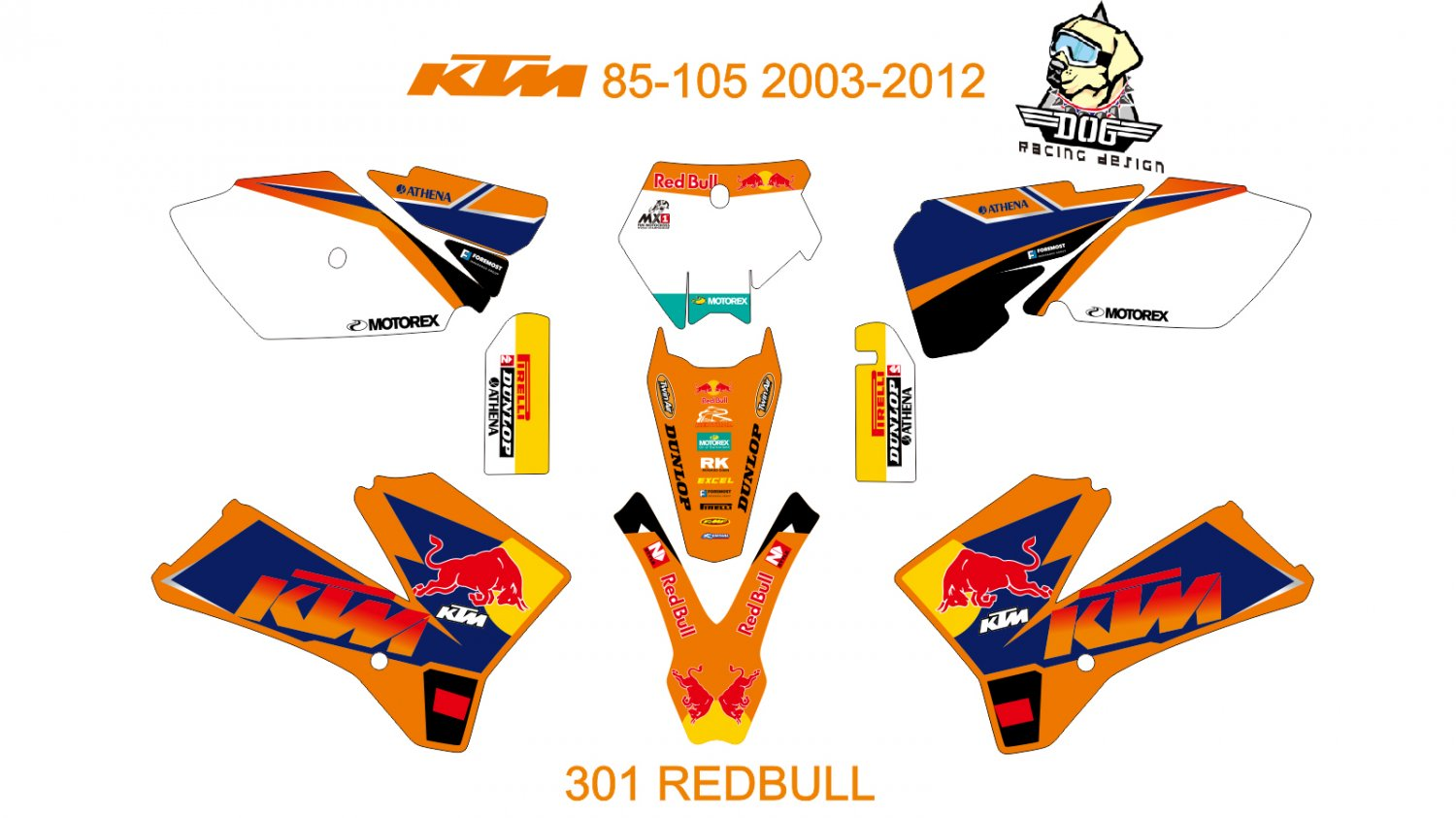 KTM 85-105 2003-2012 GRAPHIC DECAL KIT CODE.301