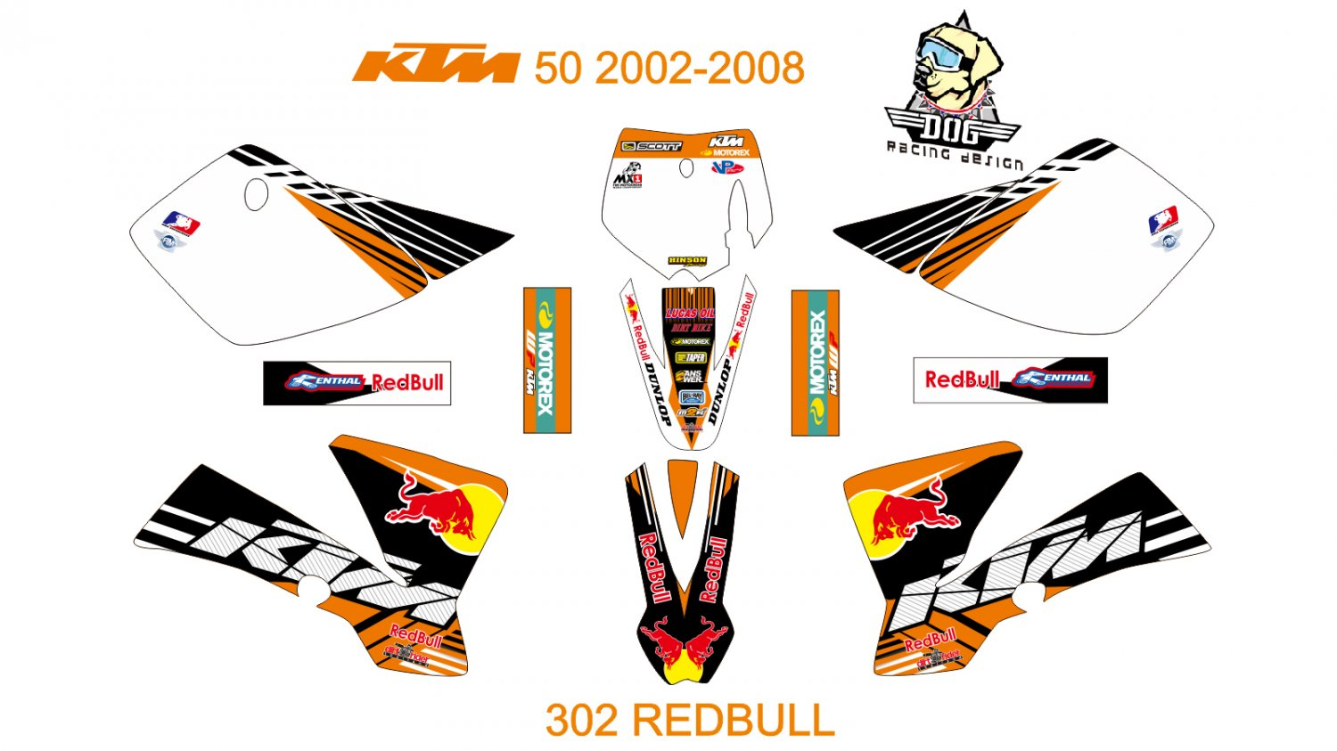 KTM 50 2002-2008 GRAPHIC DECAL KIT CODE.302