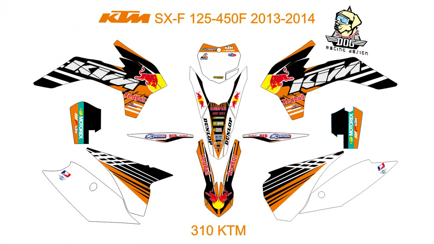 KTM SX-F 125-450F 2013-2014 GRAPHIC DECAL KIT CODE.310