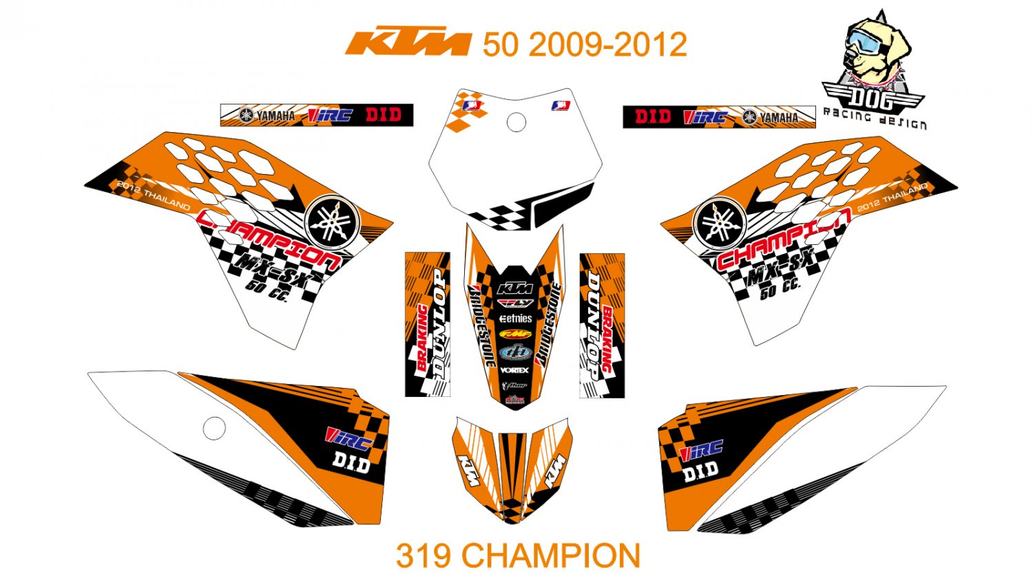 KTM 50 2009-2012 GRAPHIC DECAL KIT CODE.319