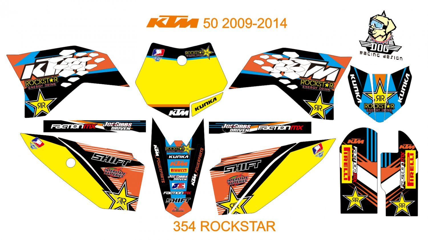 KTM 50 2009-2012 GRAPHIC DECAL KIT CODE.354