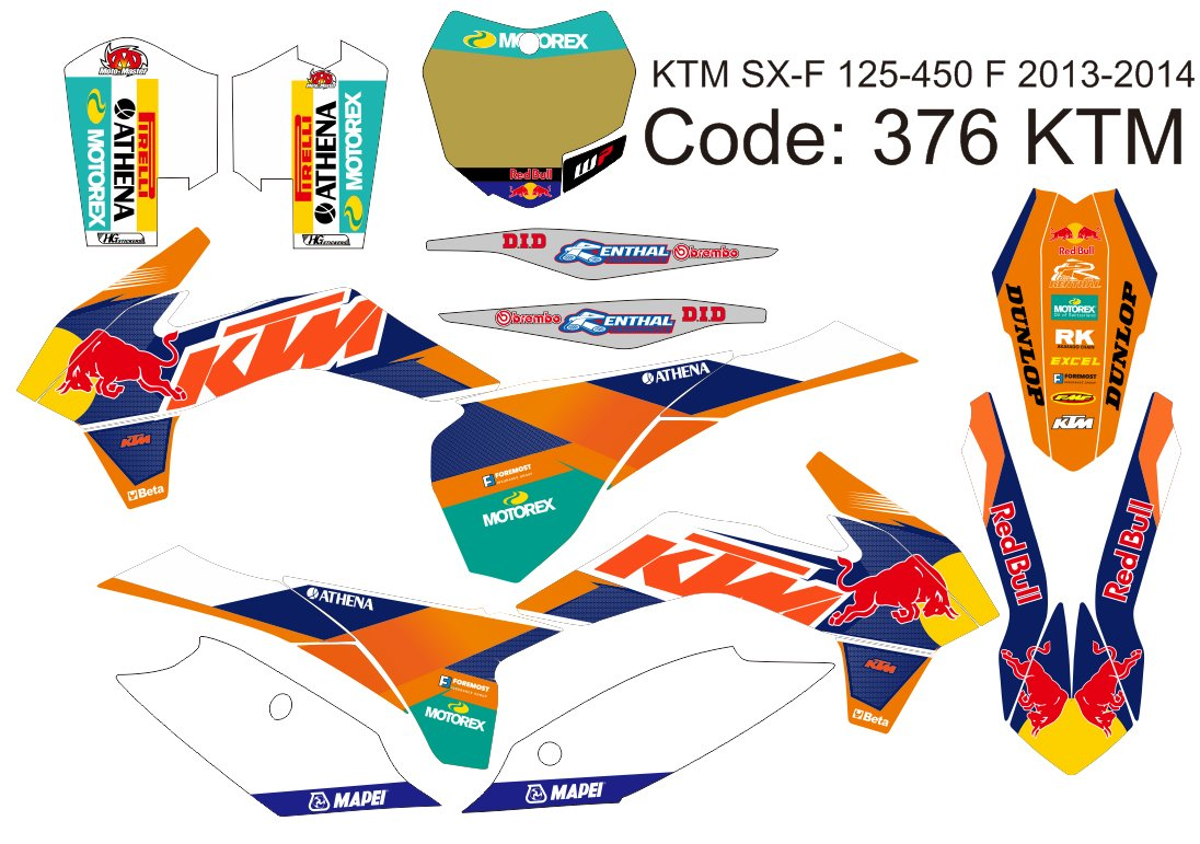 KTM SX-F 125-450F 2013-2014 GRAPHIC DECAL KIT CODE.376