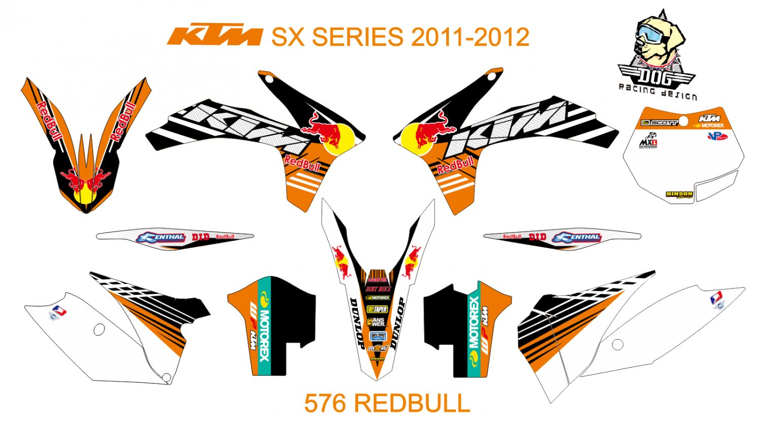 KTM SX SERIES 2011-2012 GRAPHIC DECAL KIT CODE.576