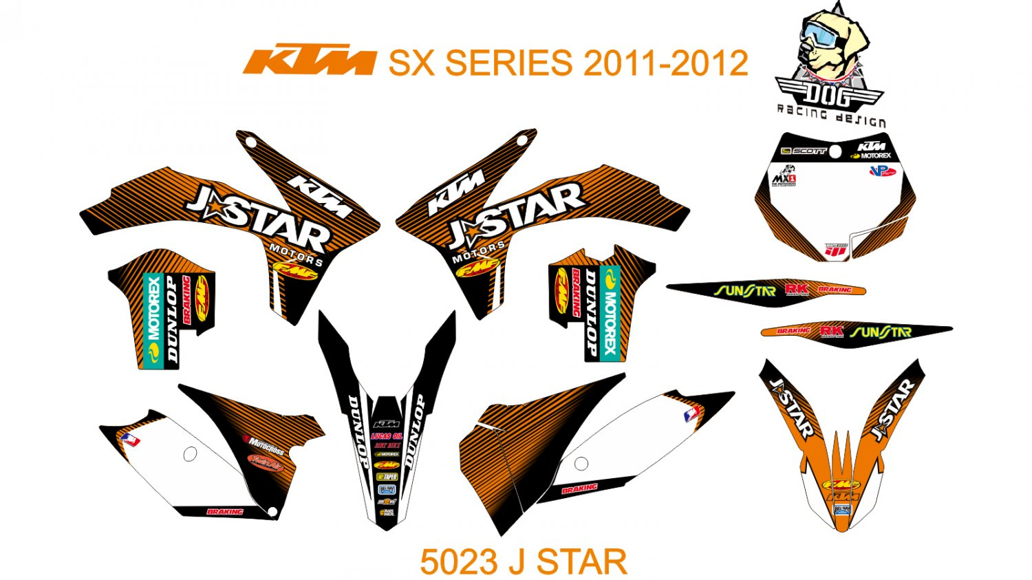 KTM SX SERIES 2011-2012 GRAPHIC DECAL KIT CODE.5023