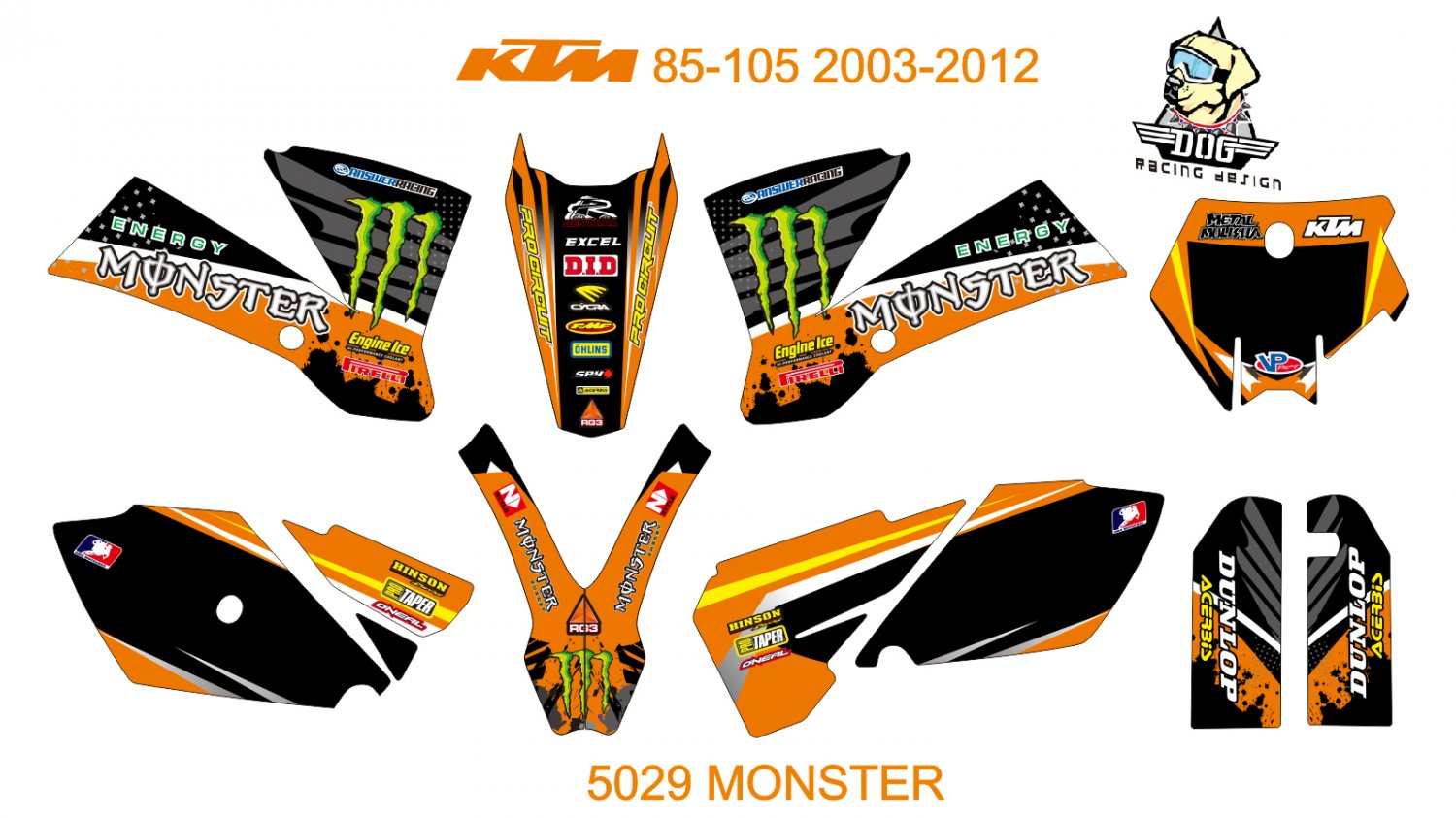 KTM SX SERIES 2011-2012 GRAPHIC DECAL KIT CODE.5029