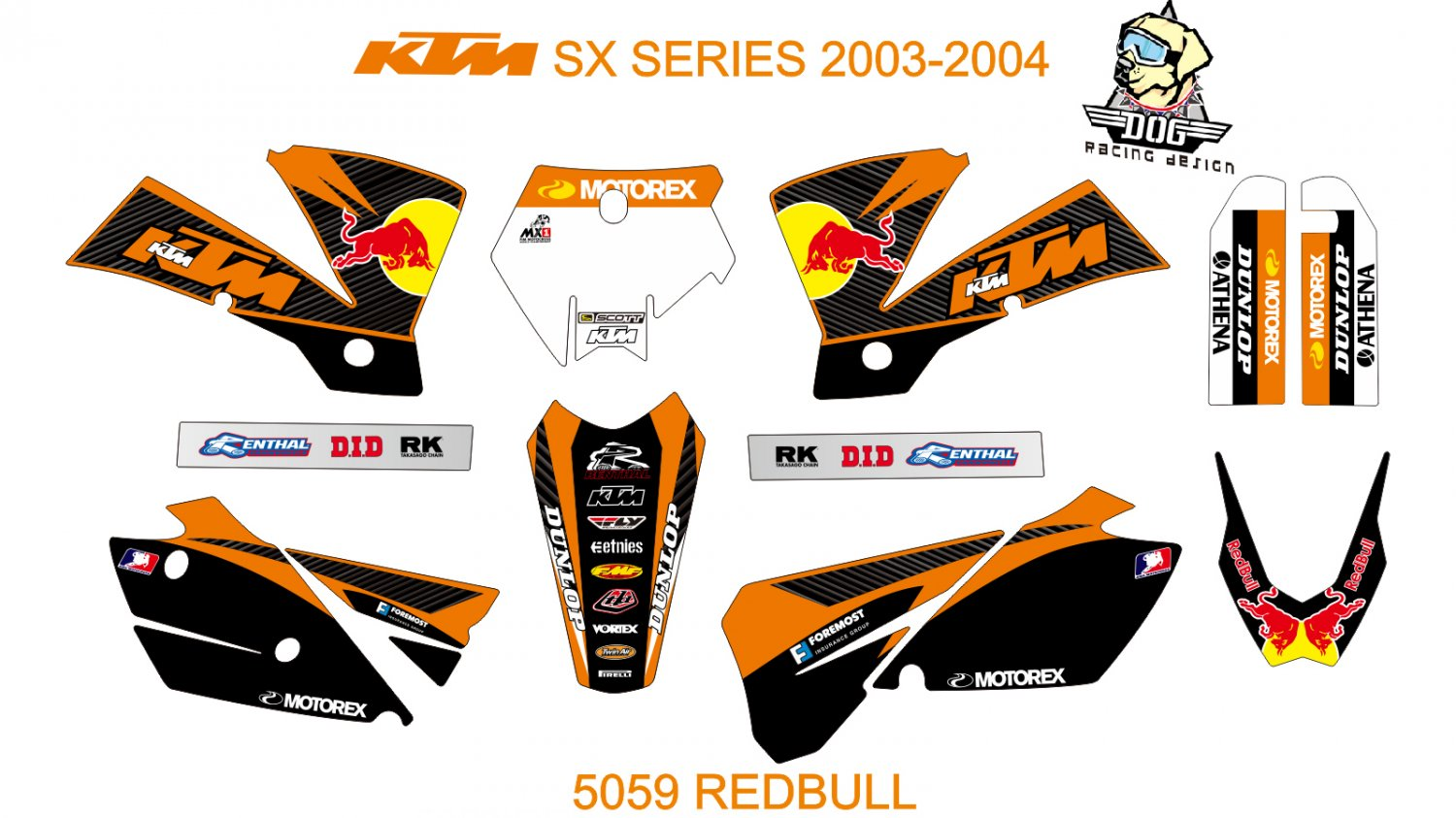 KTM SX SERIES 2003-2004 GRAPHIC DECAL KIT CODE.5059