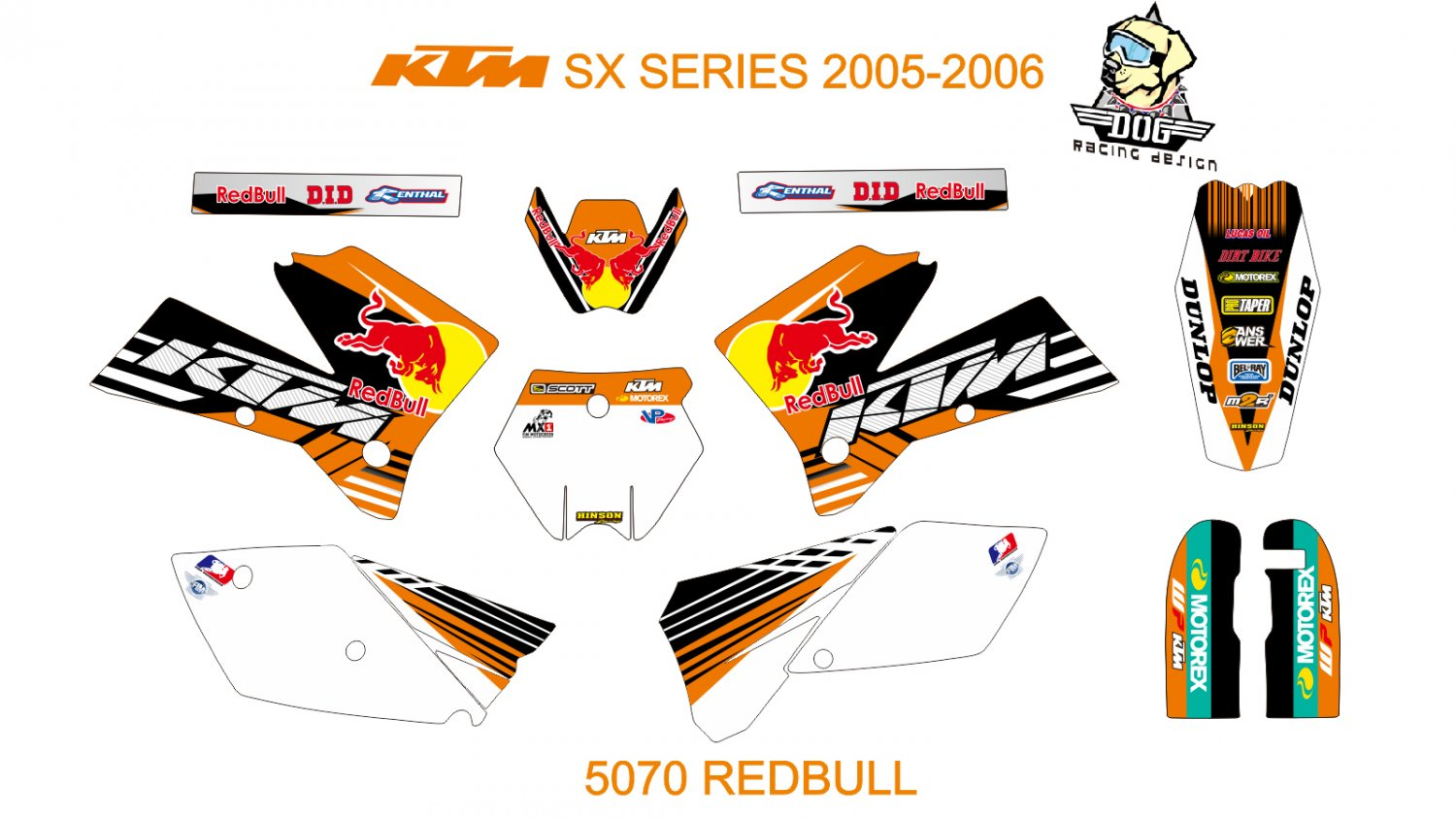 KTM SX SERIES 2005-2006 GRAPHIC DECAL KIT CODE.5070