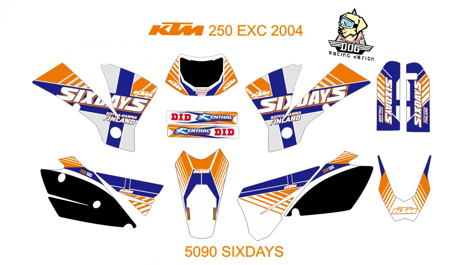 KTM 250 EXC 2004 GRAPHIC DECAL KIT CODE.5090