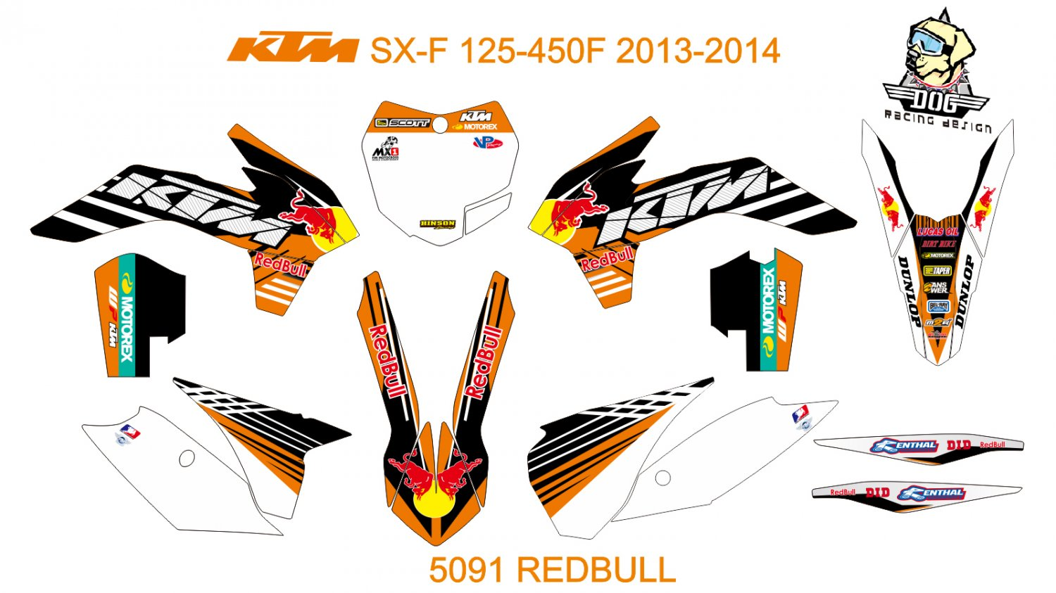 KTM SX-F 125-450F 2013-2014 GRAPHIC DECAL KIT CODE.5091
