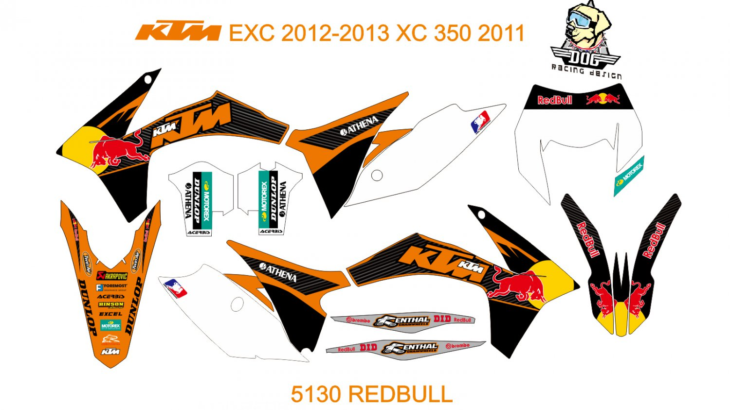 KTM EXC 2012-2013 XC 350 2011 GRAPHIC DECAL KIT CODE.5130