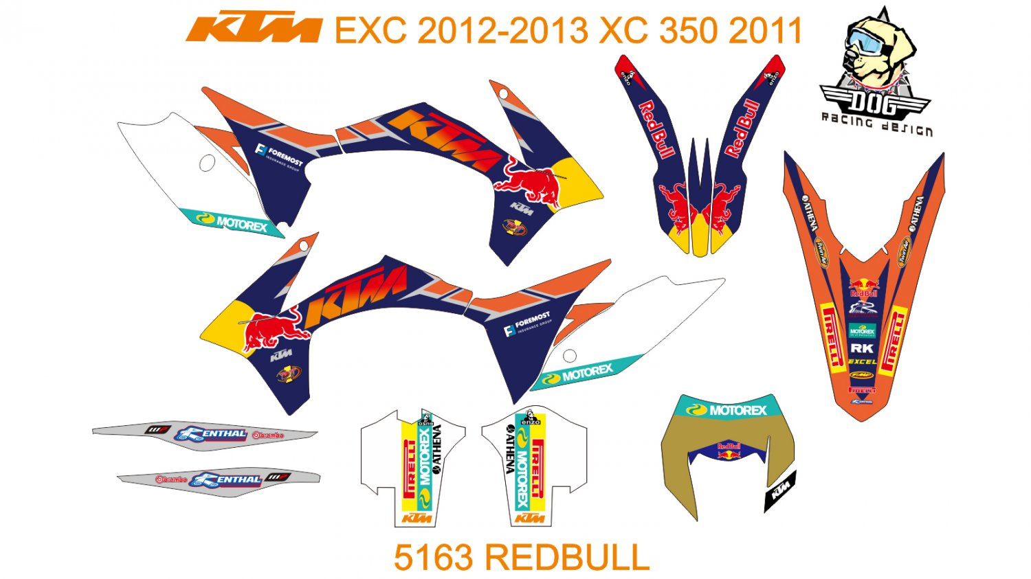 KTM EXC 2012-2013 XC 350 2011 GRAPHIC DECAL KIT CODE.5163