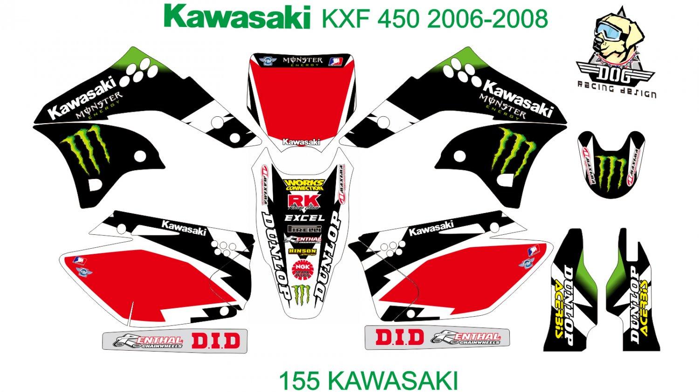 KAWASAKI KXF 450 2006-2008 GRAPHIC DECAL KIT CODE.155