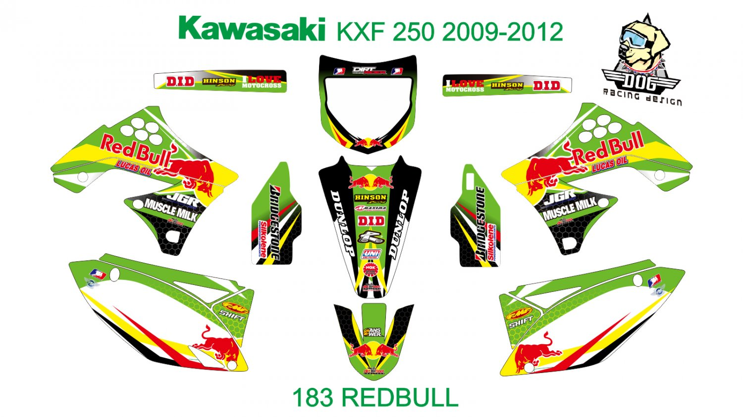 KAWASAKI KXF 250 2009-2012 GRAPHIC DECAL KIT CODE.183