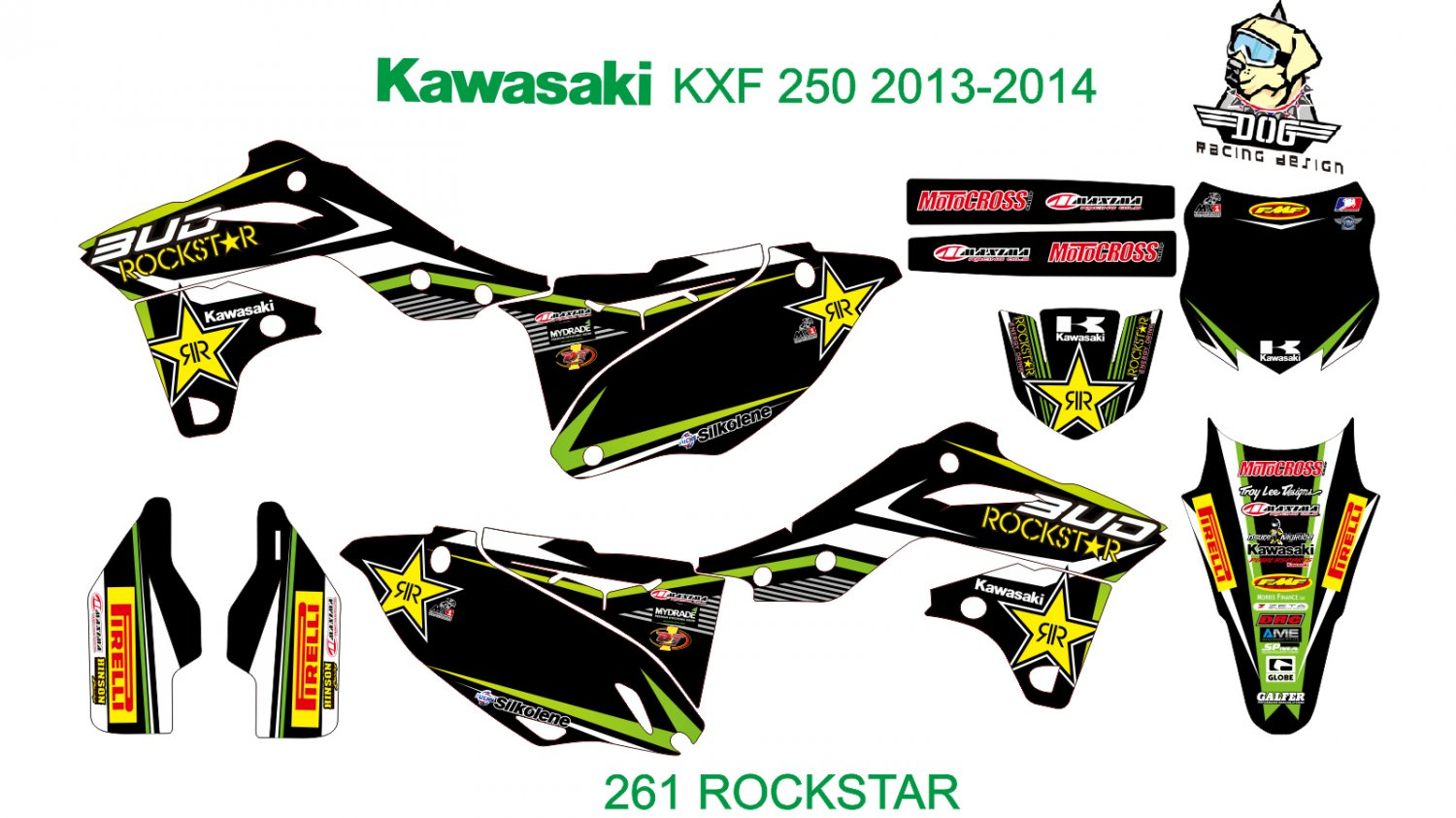 KAWASAKI KXF 250 2013-2014 GRAPHIC DECAL KIT CODE.261