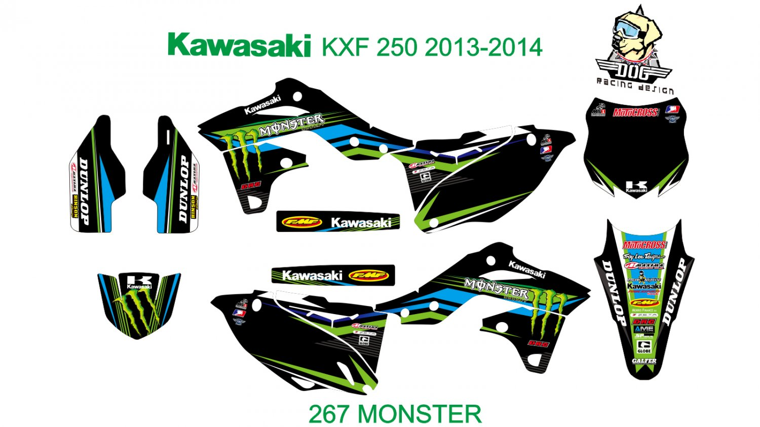 KAWASAKI KXF 250 2013-2014 GRAPHIC DECAL KIT CODE.267