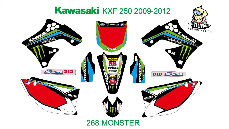 KAWASAKI KXF 250 2009-2012 GRAPHIC DECAL KIT CODE.268
