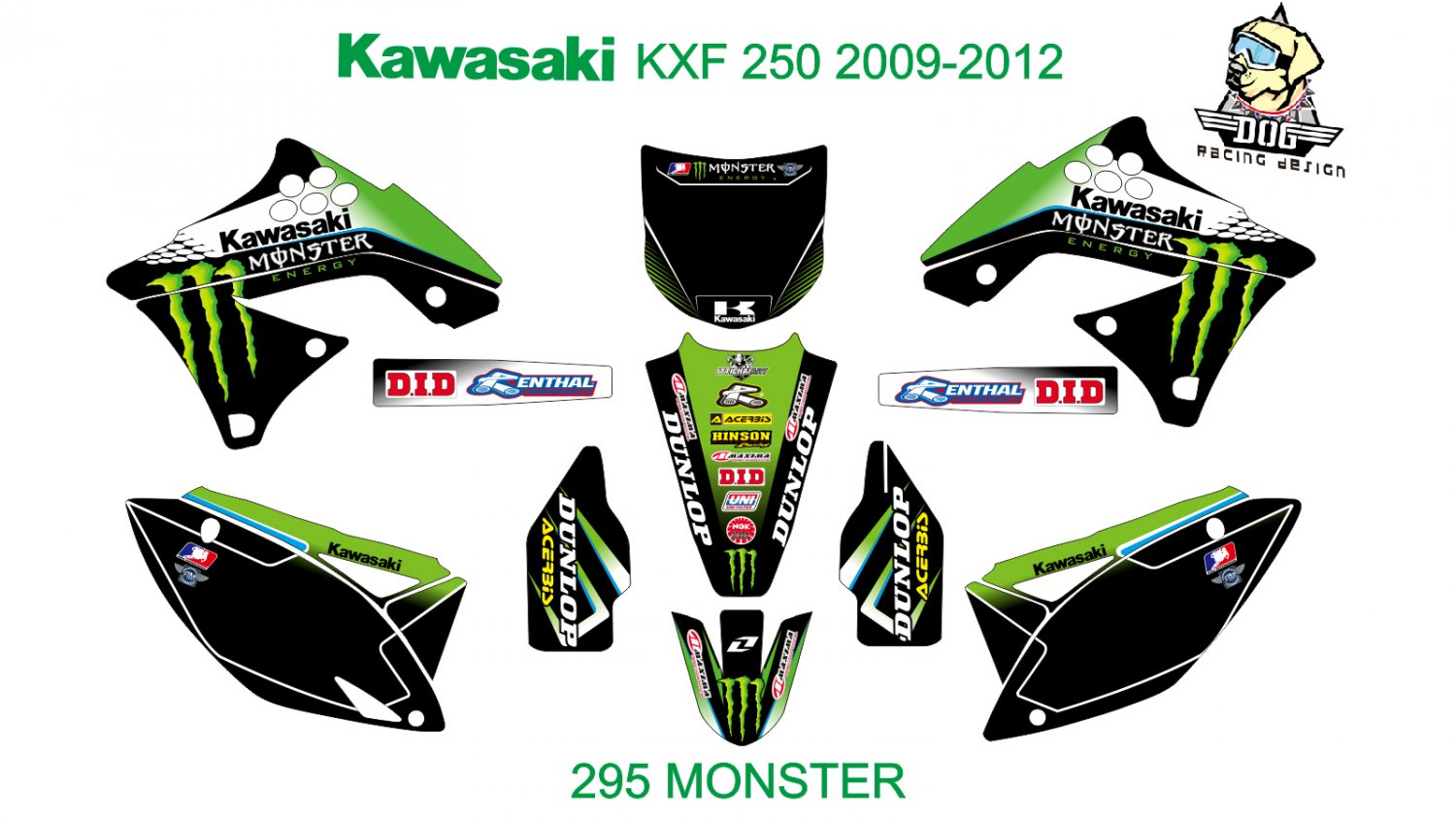 KAWASAKI KXF 250 2009-2012 GRAPHIC DECAL KIT CODE.295