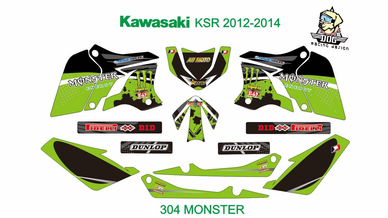KAWASAKI KSR 2012-2014 GRAPHIC DECAL KIT CODE.304