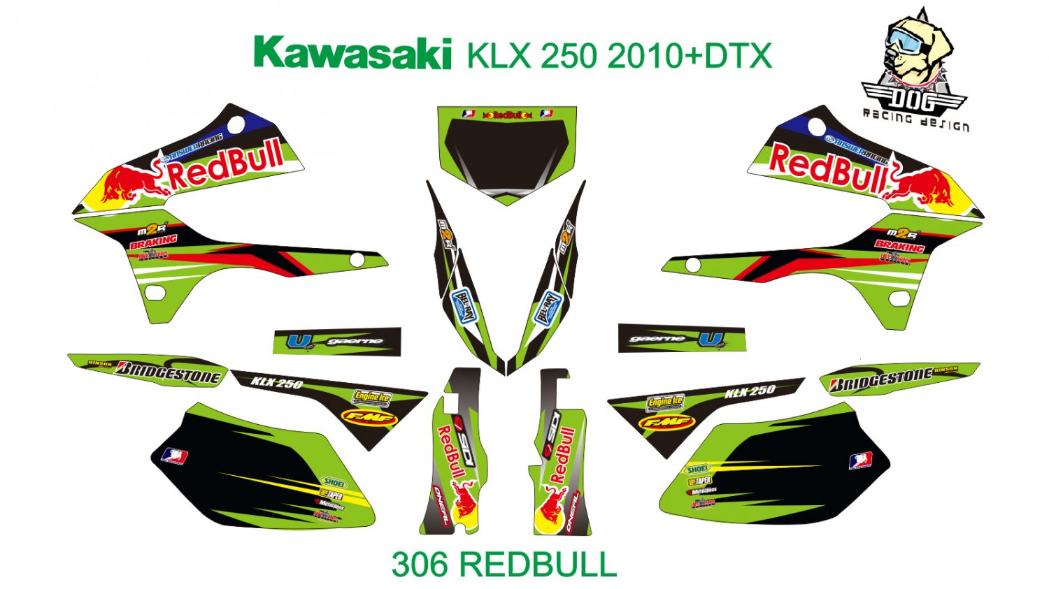 KAWASAKI KLX 250 2010+DTX GRAPHIC DECAL KIT CODE.306