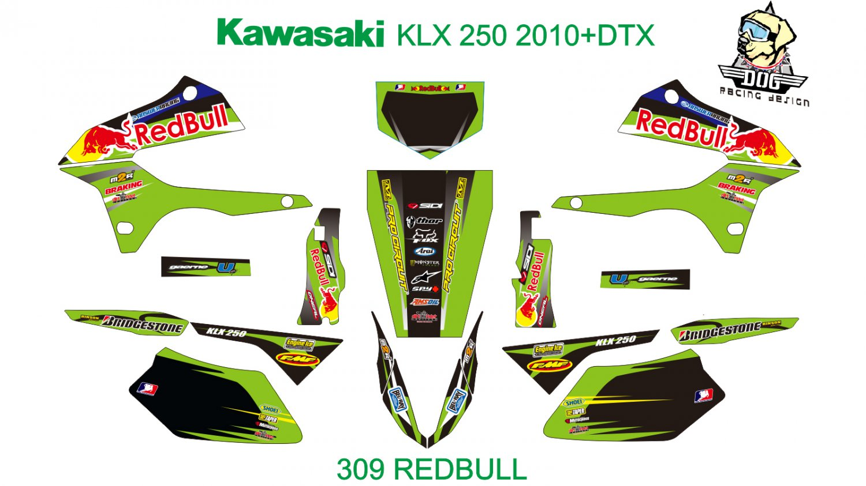 KAWASAKI KLX 250 2010+DTX GRAPHIC DECAL KIT CODE.309