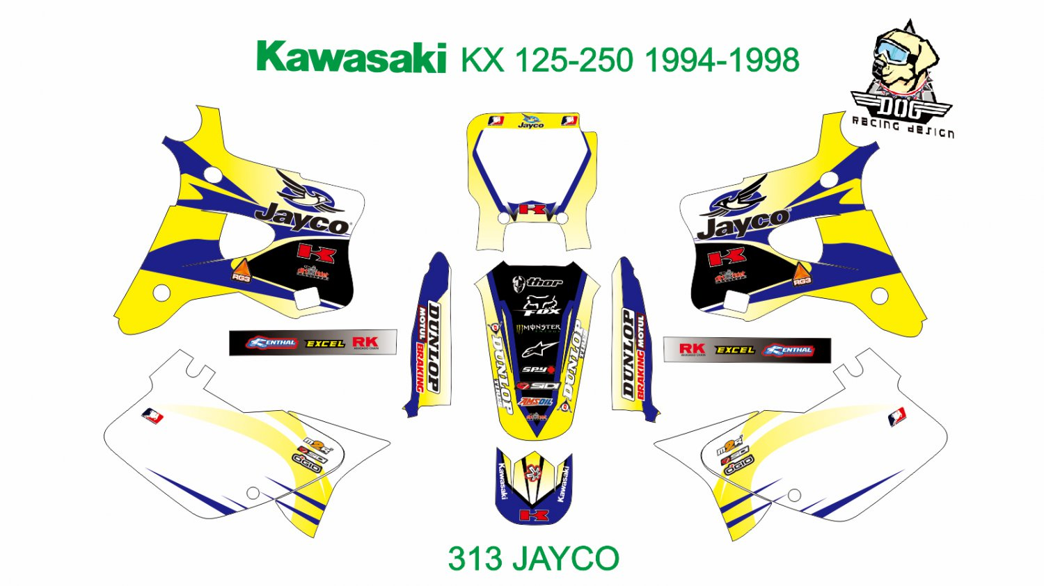 KAWASAKI KX 125-250 1994-1998 GRAPHIC DECAL KIT CODE.313