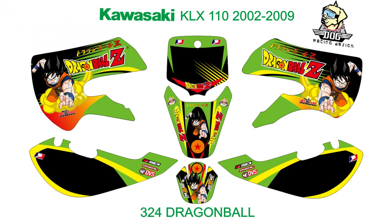 KAWASAKI KLX 110 2002-2009 GRAPHIC DECAL KIT CODE.324