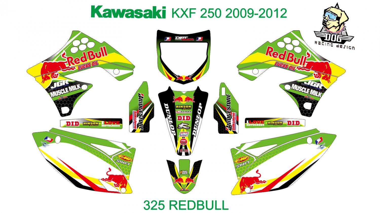 KAWASAKI KXF 250 2009-2012 GRAPHIC DECAL KIT CODE.325