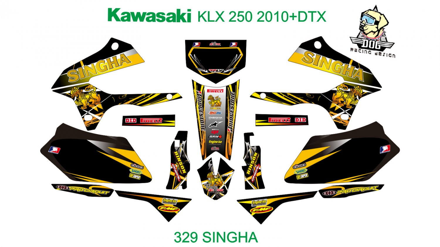 KAWASAKI KLX 250 2010+DTX GRAPHIC DECAL KIT CODE.329