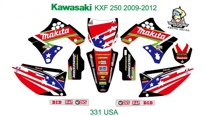 KAWASAKI KXF 250 2009-2012 GRAPHIC DECAL KIT CODE.331