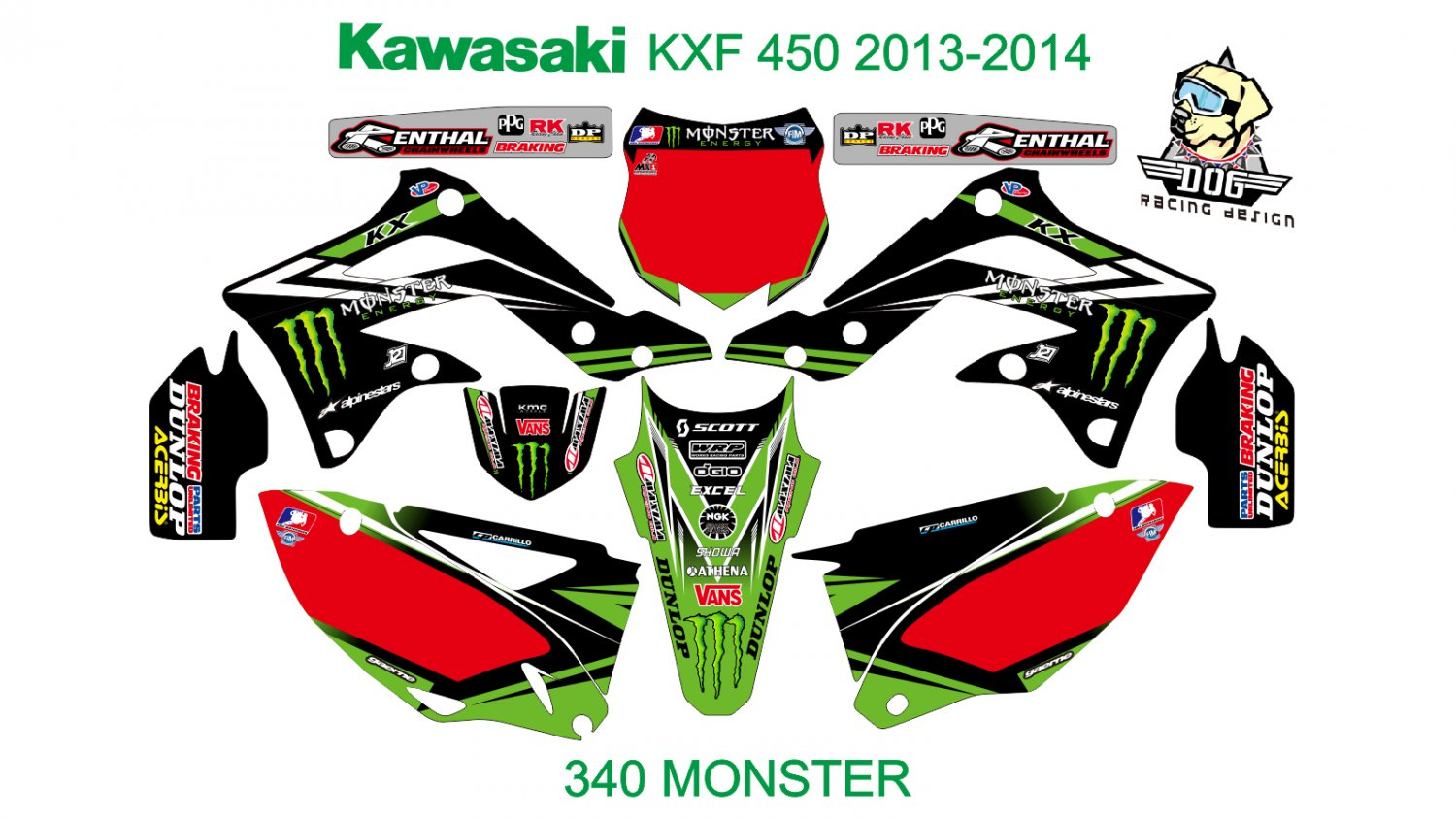 KAWASAKI KXF 450 2013-2014 GRAPHIC DECAL KIT CODE.340