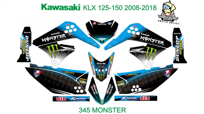 KAWASAKI KLX 125-150 2008-2012 GRAPHIC DECAL KIT CODE.345